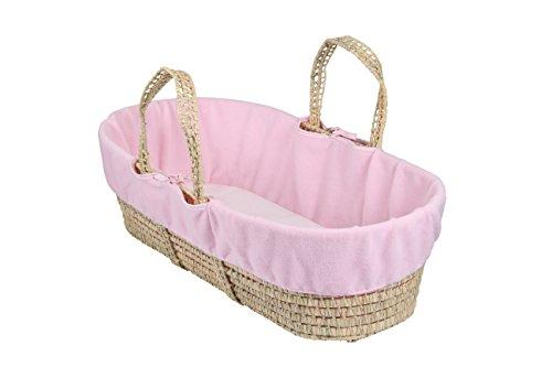 Clair de lune Fleece Liner/compresa para Moses/cesta de mimbre, color rosa