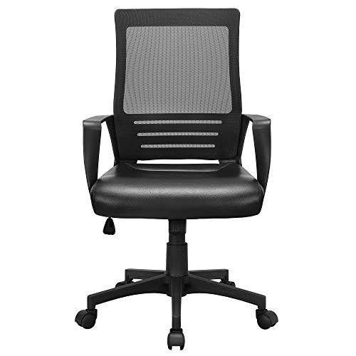 Yaheetech Schreibtischstuhl Kunstleder, Ergonomischer Computerstuhl, 360° Drehstuhl für's Büro oder Home-Office, Chefstuhl mit Netzrückenlehne, Bürodrehstuhl Wippfunktion, Schwarz