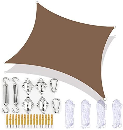 QAZW Velas Solares Protección Solar Toldo Solar Balcón Protección Climática Repelente Al Agua a Prueba de Viento PES 420D 96% Protección UV para Jardín Exterior Cuadrado Rectángulo,Brown-4x6m
