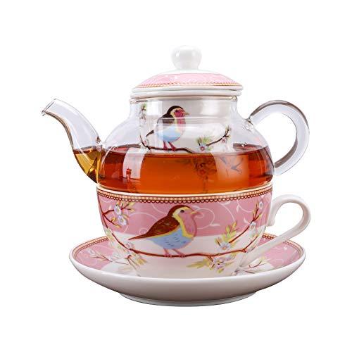 fanquare Rosa Robin Vögel und Blumen Tea for One Set, Keramik Teetasse und Untertasse mit Glas...