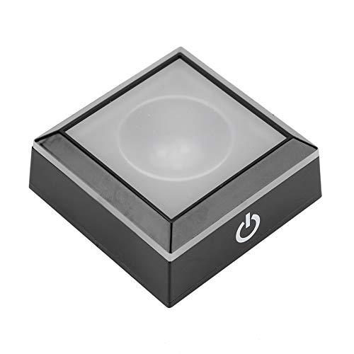 Liukouu Soporte de luz, Soporte de lámpara Cuadrado Base de lámpara, Base de luz LED 3D Soporte de exhibición de luz para Crystal Home Art Glass Estatuas de Cristal 3D