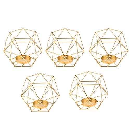 FLAMEER 3D Geometrischer Kerzenst?nder Kerzenhalter Gold Teelichthalter Hochzeit Dekoration - 5 St¨¹ck