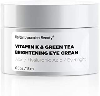HD Beauty Vitamin K & Green Tea Brightening Eye Cream for Undereye Circles, Puffiness, and Fine Lines with Hyaluronic Acid...