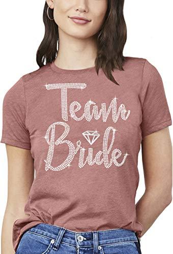 Bachelorette Party Shirts - Rhinestone Diamond Team Bride T-Shirt - Bridal Party Tee Shirt - Medium - Rose Gold Blush