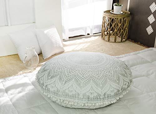 Popular Handicrafts Large Hippie Mandala Floor Pillow Cover - Cushion Cover - Ombre Pouf Cover Round Bohemian Yoga Decor Floor Cushion Case- 32', Silver