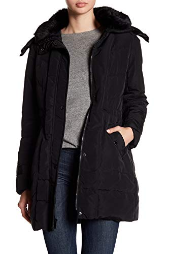 Kenneth Cole New York Women's Poly Oxford Hooded Down Coat with Removeable Faux Fur Collar, Black, Medium