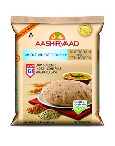 Aashirvaad Low Glycemic Index Whole Wheat Flour with Multigrain & Fenugreek - 10 Lbss/4.54 Kg