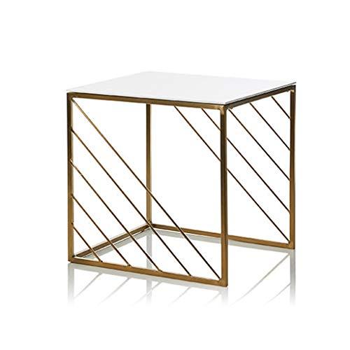AZHom Kleiner Couchtisch einfacher moderner mini quadratischer Wohnzimmersofaseite goldener schmiedeeiserner Eckwohnung-Ecktisch der kleinen Wohnung Klapptisch (Size : 40 * 40 * 40.5cm)