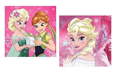 Theonoi - Funda de cojín Infantil (40 x 40 cm, Reversible, no Incluye cojín), diseño de Princesas Disney, algodón, Frozen 02, 40 x 40 cm