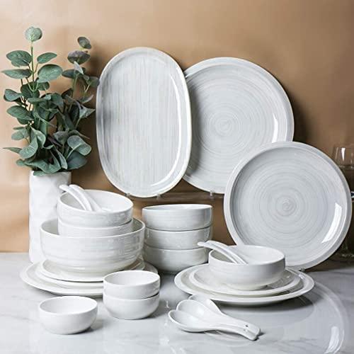 CCAN Juegos de vajilla de cerámica, Plato/Cuenco/Plato | Juego de combinación de vajilla de Porcelana arcoíris Pintada a Mano nórdica de 34 Piezas - Restaurante de Fiesta Familiar Interesting Life