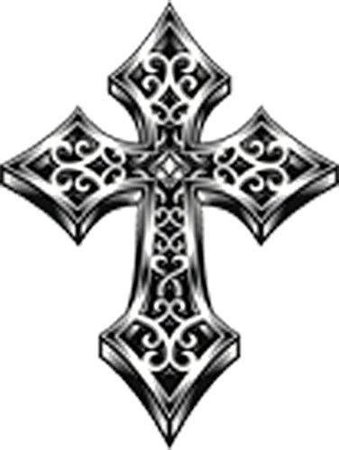 Retro Vintage Ornate Celtic Cross Icon Vinyl Decal Sticker (4' Tall)