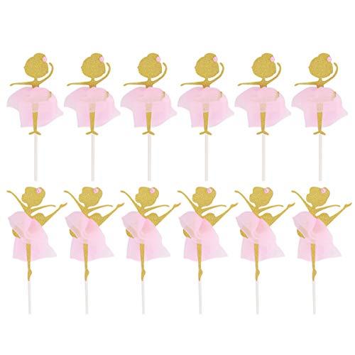 PRETYZOOM 12Pcs Decoraciones de Bailarina Fiesta Cupcake Toppers de Cumpleaños Fresa Topper Ballet Tutu Cake- Oro Brillo Bailarina Bailarina Cupcake Toppers Selecciones
