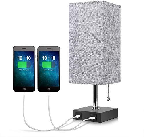 USB-nachtkastlamp, grijze moderne tafel, bureaulamp met 2 USB-snelladerpoorten, unieke lampenkap van massief hout, praktisch trekkoord voor slaapkamer, woonkamer of kantoor