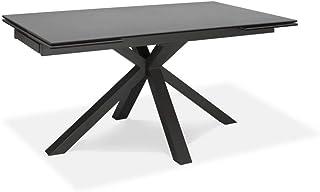 Table à rallonge de 160cm à 240cm Salle à manger moderne avec deux extensions Plateau en céramique sur verre trempé et pie...