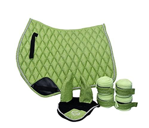Equipride GP Tapis de selle scintillant avec voile et bandes assortis en tissu pailleté Vert poney