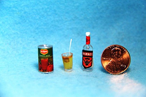 Dollhouse Miniature Bloody Mary Set with Juice Vodka and Glass FA - My Mini Fairy Garden Dollhouse Accessories for Outdoor or House Decor
