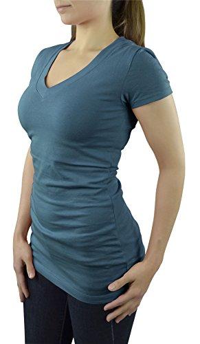Belle Donne- Women's Short Sleeve V-Neck T-Shirt - Jade/Large