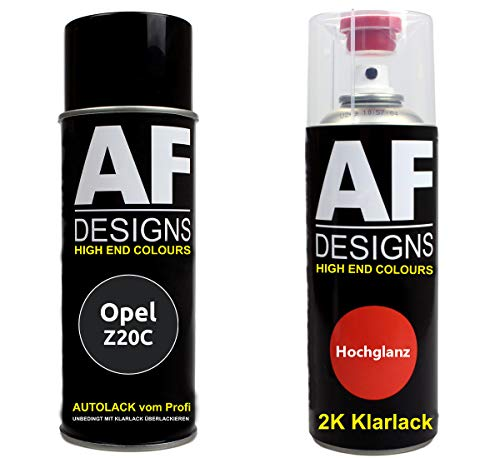 Autolack Spraydose Set für Opel Z20C Schwarz II 2K Klarlack Basislack Sprühdose Spraydosen 2x400ml
