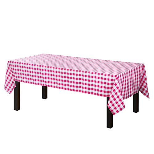 Gee Di Moda Checkered Rectangle Tablecloth - 60 x 102 Inch - Red & White Checkered Table Cloth for 6 Foot Table in Washable Polyester - Great for Family Dinner, Indoor or Outdoor Parties & More