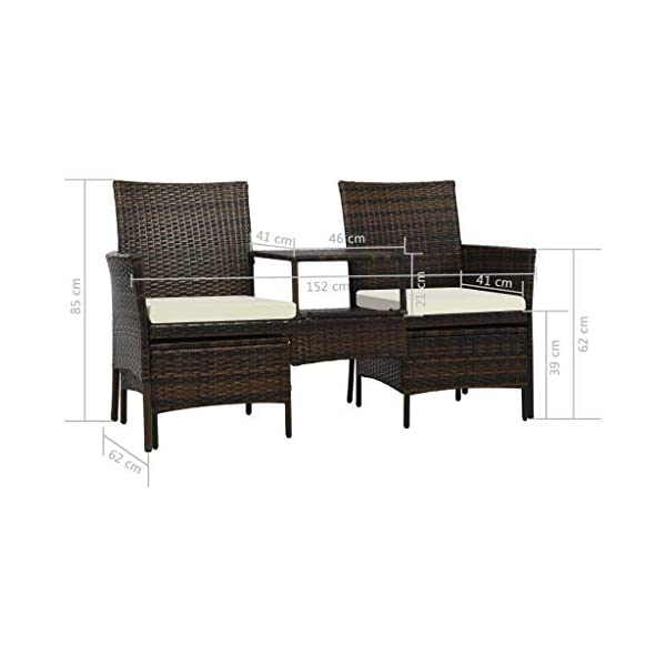 Tidyard 2-Sitzer-Gartensofa mit Tisch & Hocker Poly Rattan Braun Aluminium Polyrattan Multifunctional Lounge Set Garden…