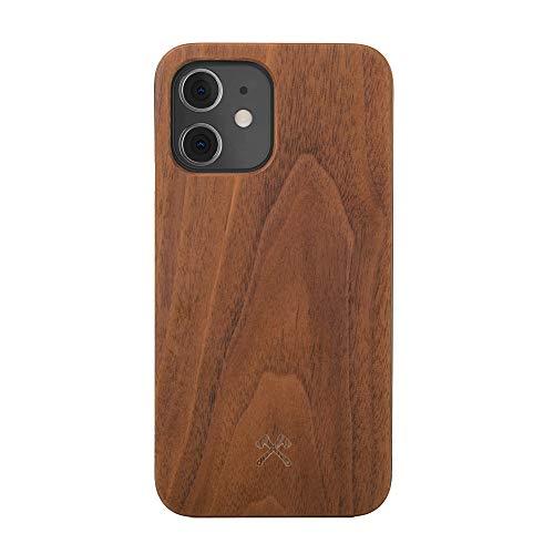 Woodcessories - Hülle kompatibel mit iPhone 12 Mini aus Echtholz - EcoCase Classic (Walnuss/Schwarz)
