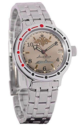 Vostok Amphibian 4203922416B - Reloj de pulsera automático de estilo militar ruso sumergible a 200m
