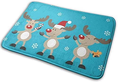 Bath Mat Merry Christmas with Reindeers Memory Foam Bath Mats Non Slip Soft Absorbent Bath Rugs Rubber Back Runner Mat for Kitchen Bathroom Floors White