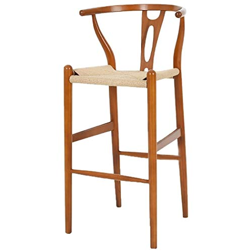 JQQJ barkruk, industriële rotan barkruk, van massief hout, robuuste en robuuste kruk, ergonomische kruk, design eettafel, kruk 53x51x102cm Bruin