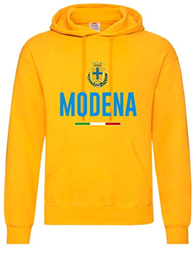 Felpa Gialla Modena con Stemma Tifosi Calcio Taglia M (per Taglie S M L XL XXL invia Messaggio con n. Ordine)