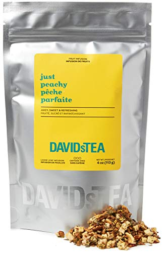 DAVIDsTEA Just Peachy Loose Leaf Tea, Premium Herbal Tea with Peach and Apple, Fruity Iced Tea, 4 oz / 113 g