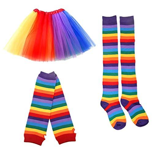 TENDYCOCO Frauen Tutu Kleid Regenbogen Geschichteten Prinzessin Tüll Set mit Handschuhen und Socken für Party Geburtstag
