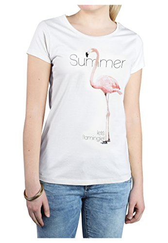 Stitch & Soul Damen T-Shirt mit Flamingo Sommer Print White L