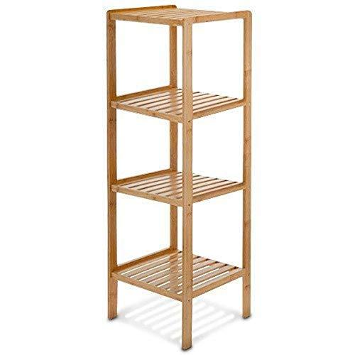 Relaxdays 10013497 Estantería bambú para baño, 4 Niveles, Natural, 33x33x110 cm