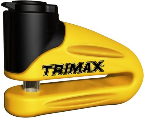 Trimax Yellow Hardened Metal Disc Lock 10Mm Pin (Long Throat) with Pouch & Cable T665LY, Blister Packaging