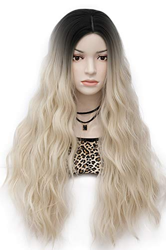 Mildiso Long Blonde Wigs for Women Black Rooted Ombre Pastel Curly Wavy Hair Wig Cute Natural Looking Perfect for Daily Party Cosply M052F