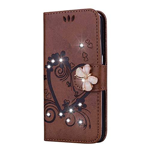 Huawei P9 Lite Hülle, SONWO Premium Glitzer Strass Flip PU Leder Handyhülle mit Diamant Magnetverschluss und Ständer Funktion für Huawei P9 Lite, Braun