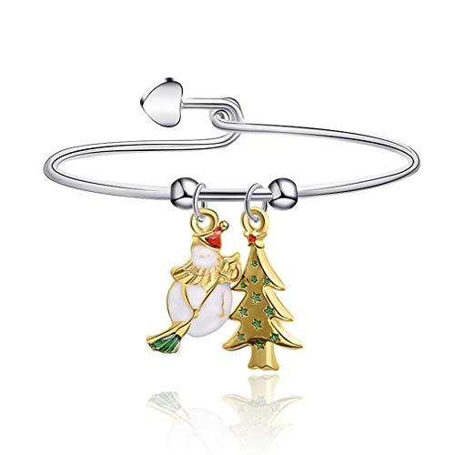 Kyoidy 1pcs Christmas Bracelet Reindeer Santa Candies Christmas Tree Pendant Bangle Female Stylish Accessories Gift,G1189,Style 3