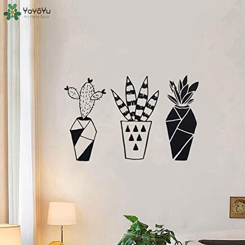 YIYEBAOFU zwarte vlinder muursticker foto, wandtattoo geometrie kaktusplant vinyl muursticker kunstwand wanddecoratie bloemen plant p