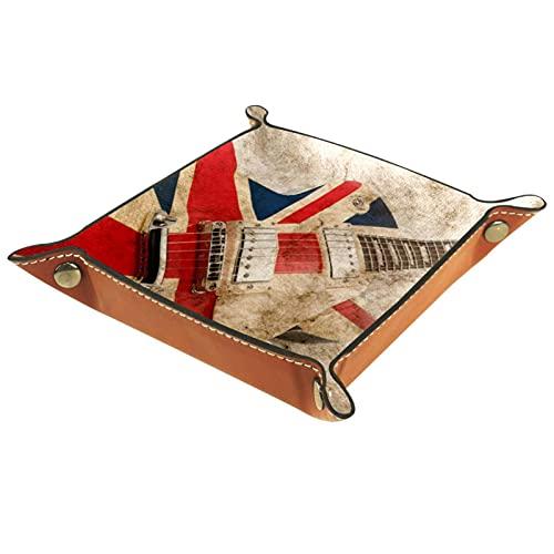 Yumansis Bandeja de dados, bandeja plegable de piel sintética para dados, juego de dados y otros juegos de mesa de juegos de mesa, guitarra británica de 20,5 x 20,5 cm