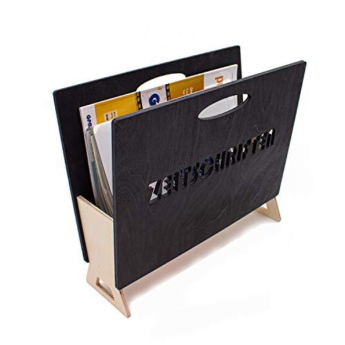 INEXTERIOR Zeitungshalter aus Holz für Zeitschriften, Magazine und Kataloge - in Deutschland gefertigt - 35x14x30cm (LxBxH) Zeitungsständer (Anthrazit/Natur)