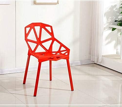 GoYisi WKJ-24 2 PCS Mode Chaise de Dossier en Plastique Moderne Simple Chaise de Salle à Manger ajourée (Noir) (Couleur : Jaune) Red