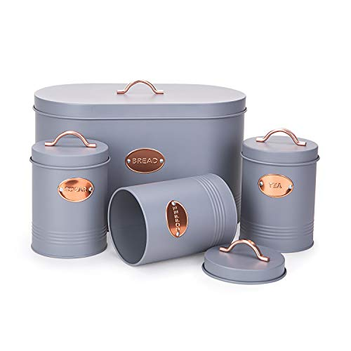 Nuovoo Metal Bread Box/Bin/Container Set of 4,Bread Bin,Tea,Coffee,Sugar Tin Canister Set for Home Kitchen Gifts (Grey)