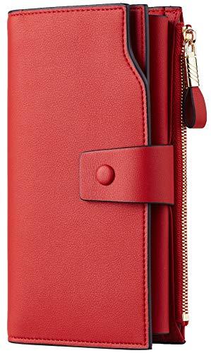Travelambo Womens RFID Blocking Large Capacity Luxury Waxed Genuine Leather Clutch Wallet Multi Card...