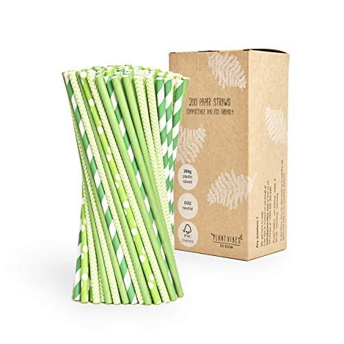 Plantvibes Cannucce in carta, Pagila per bibita, CO2 neutra & 100% biodegradabile - 200 Pezzi di cannucce verdi - Resistenti all'acquaesistenti all'acqua