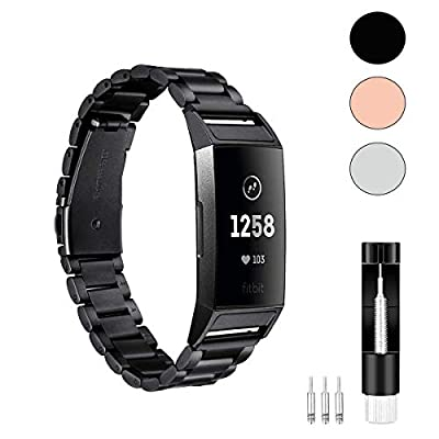 TenCloud Band Compatible with Fitbit Charge 4 Bands/Charge 3 Bands, Solid Stainless Steel Metal Replacement Watch Band Wrist Strap for Fitbit Charge 4 GPS Swim Smartwatch (Black)