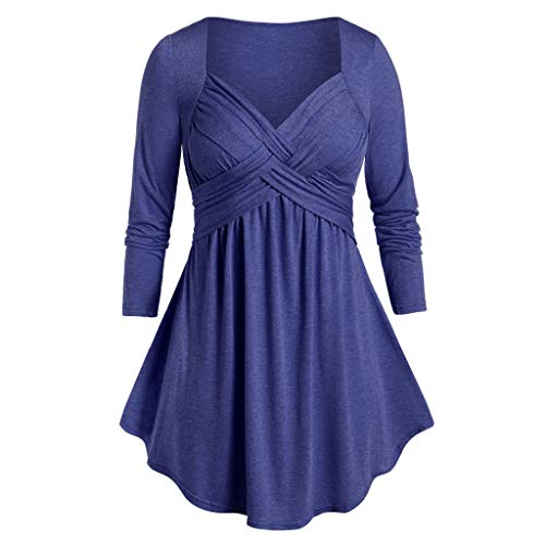 Fanteecy Womens Shirt Square Neck Ruched Babydoll Tops Long Sleeve Empire Waist Tunic Peplum Plus Size Tops Blouses Blue
