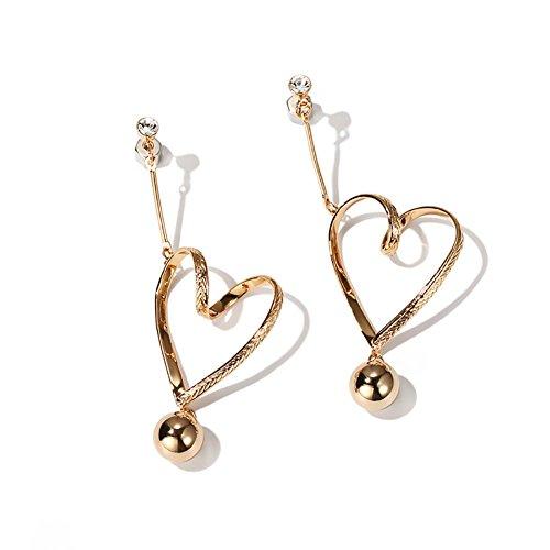 Boucles d'oreilles pendantes en forme de coeur creuses en plaqué or