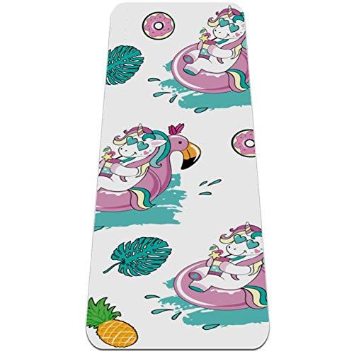 AIBILI Esterilla de yoga plegable de 6 mm de grosor antideslizante para viajes y yoga suave y ligera, ideal para yoga, pilates y fitness, verano, dibujos animados, vocación de unicornio, piña y piña