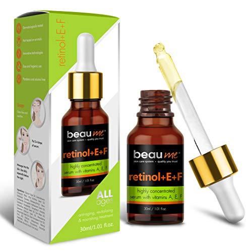 BEAUME® Suero de Retinol + E + F Altamente Concentrado con Vitaminas A, E, F, Omega-3, -6, -7, -9 y Coenzima Q10, de 30ml - Tratamiento antienvejecimiento, revitalizante y nutritivo