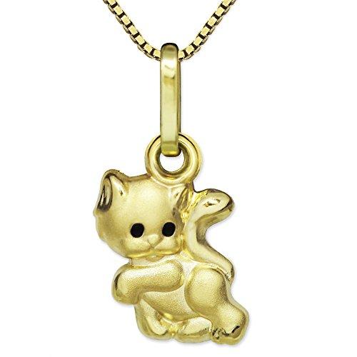CLEVER SCHMUCK Set Goldener Kleiner Anhänger Mini Katze 8 mm Augen schwarz seidenmatt teils glänzend 333 Gold 8 Karat mit vergoldeter Kette Venezia 38 cm für Kinder